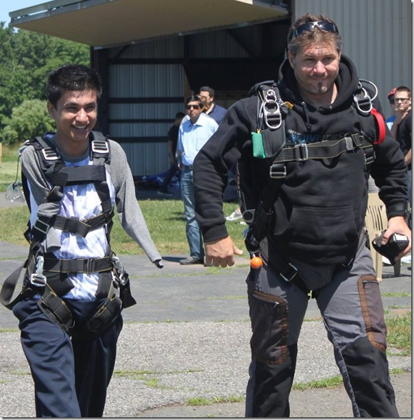 Sudarshan Gautam sky diving training in the USA