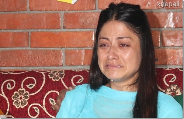 Tearful Sweta Khadka at the program held to mark 13th day of the death of Shree Krishna Shrestha