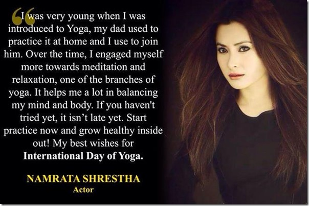 namrata shrestha yoga day message