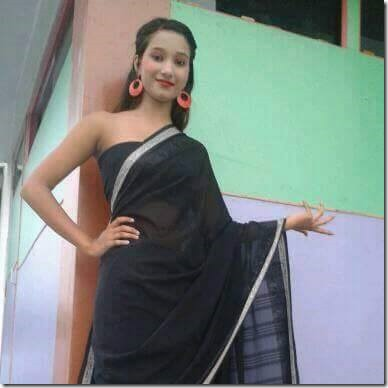 archana paneru black saree