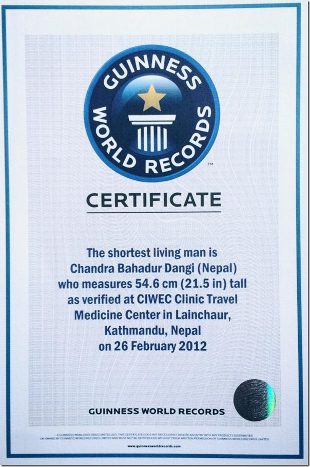 chandra bahadur dangi gunness world record
