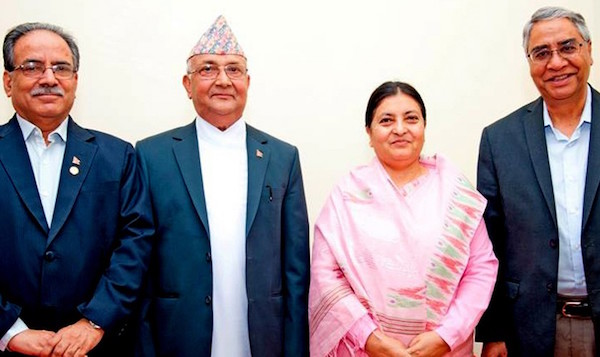 prachanda oli deuba with president