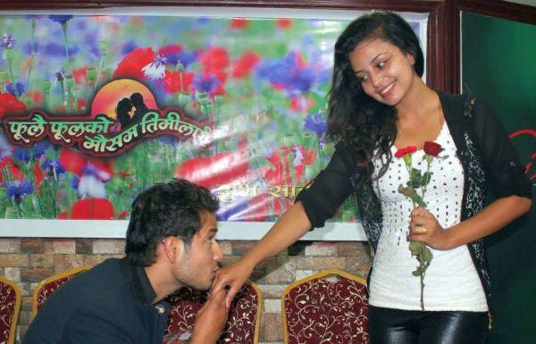 neeta dhungana and Amesh Bhandari kiss red rose