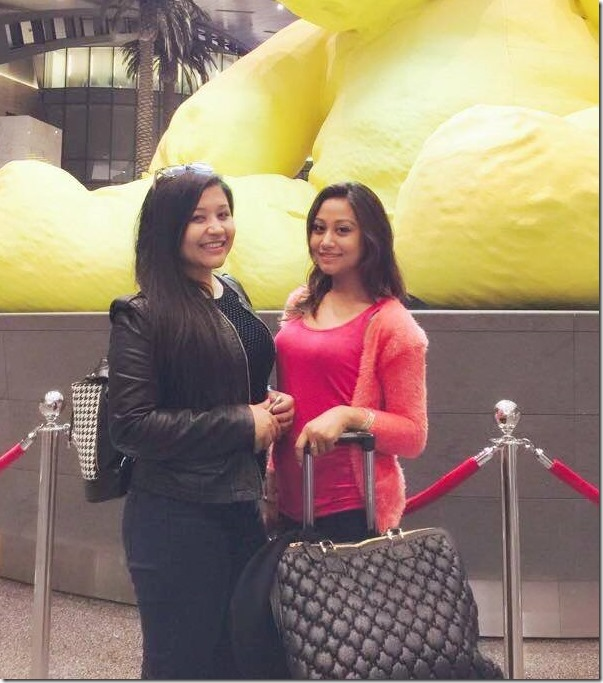 ashishma nakarmi and astha raut in doha airport
