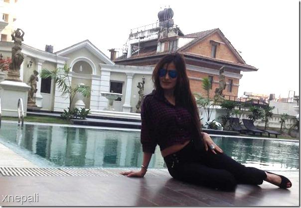 jiya kc beside swimmign pool
