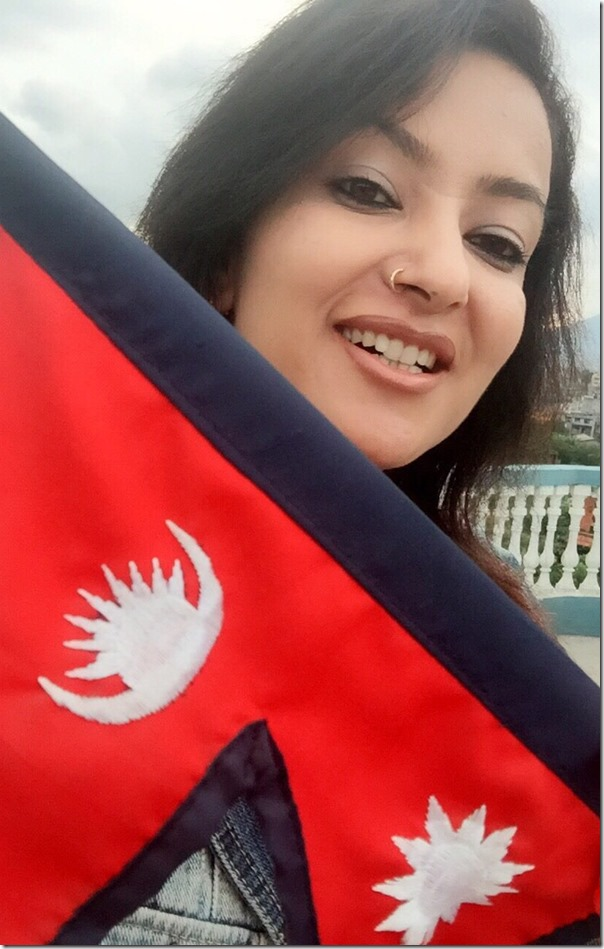 jharana thapa with nepal flag1