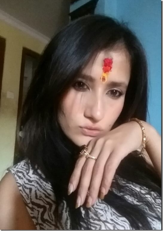 jiya kc dashain tika on forehead