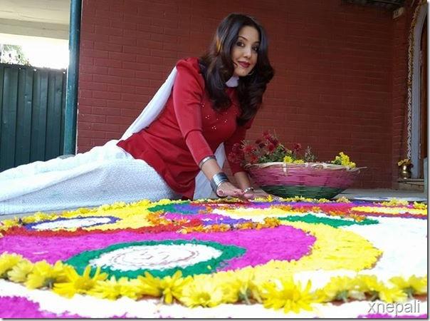karishma manandhar diwali rangoli