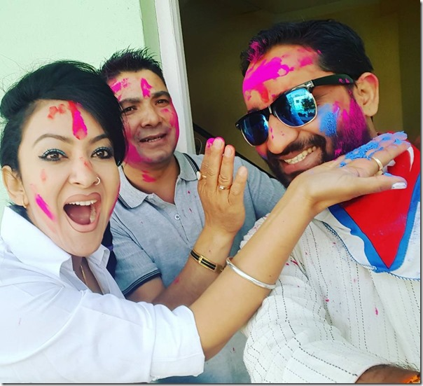 jharana thapa and suresh darpan pokharel sunil kumar thapa holi 2016