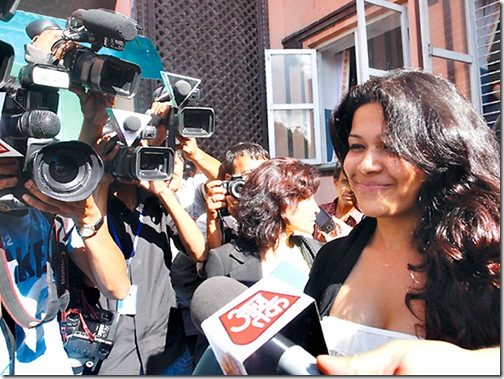 Charles Sobhraj, better known as French serial killer 's fiancée Nihita Bishwas speaks with press after his verdict was postponed on 30th July at Supreme Court in Kathmandu on Wednesday. July 14, 2010 Post Photo/Shruti Shrestha/Kantipur