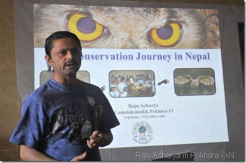 raju acharya-talking in Pokhara