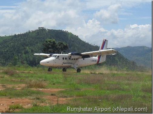 Tumlingtaar_Airport_plane_landing_Nepal_airlines