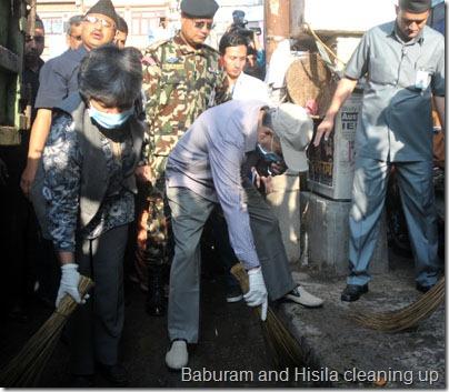 Prime Minister Baburam Bhattarai and Minister for Local Development Top Bahadur Rayamaji leading a week-long cleaning campaign at New Baneshwor in Kathmandu on Friday, April 06, 2012. Photo: Bhaswor Ojha/Nagarik/Republica