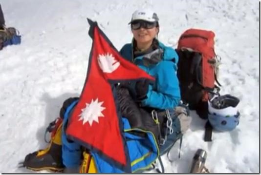 nisha adhikari on top of mt. everest