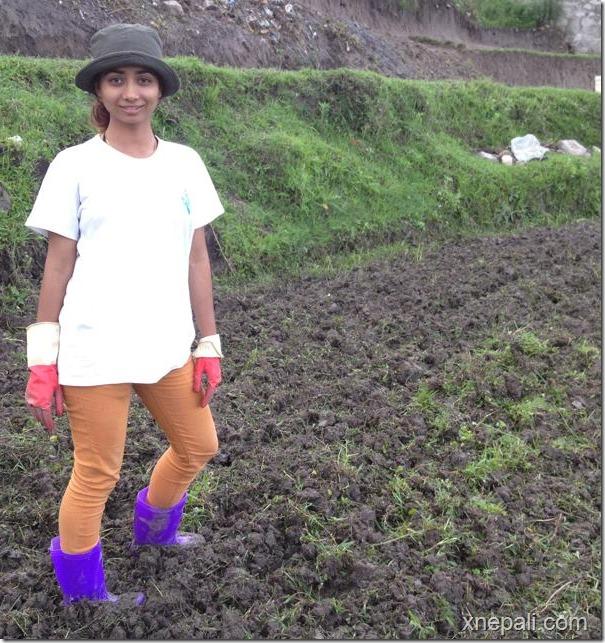 binita baral smiles at farm