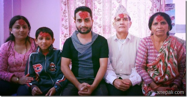 suresh darpan pokharel with parents and Bhauju