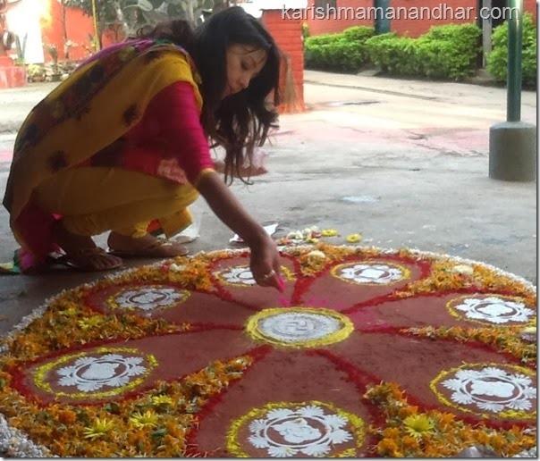 karishma mananhar tihar rangoli - preparation