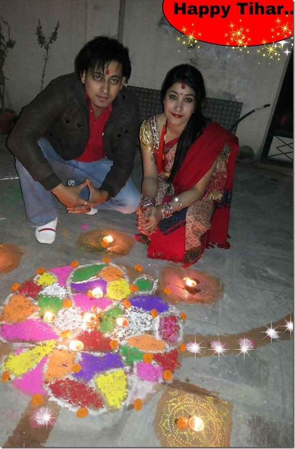 sarj garach and his wife deepawali rangoli