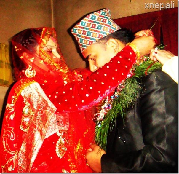 Shankar BC and Nisha Sunar marriage mala