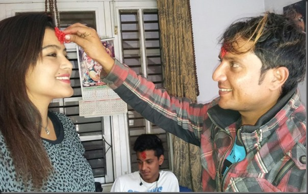 rekha receives dashain tika from shyam bhattarai