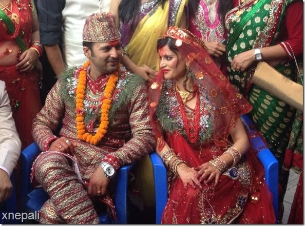 Aryan sigdel and sapana smile at each other marriage