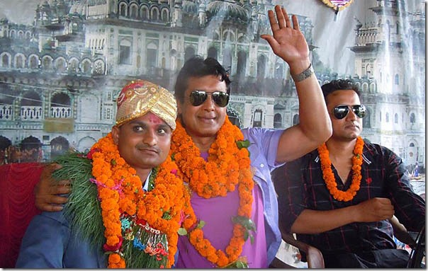 Rajesh Hamal at hairdresser surendra thakur marriage sarlahi