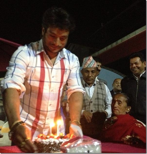 shree krishna cutting birthday cake - historical photo