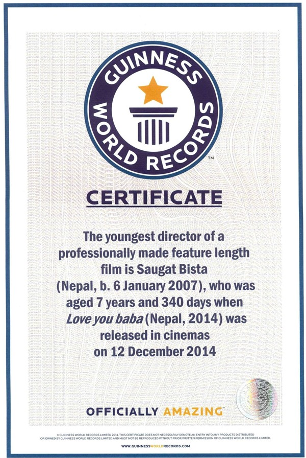 saugat bista guinness world record certificate