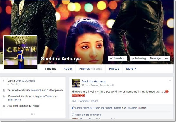 suchitara facebook status