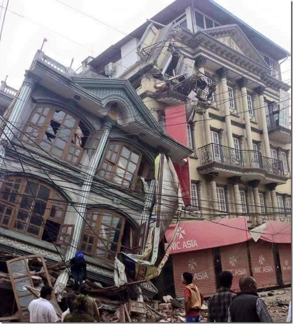 earthquake building destroyed in Kathamdu