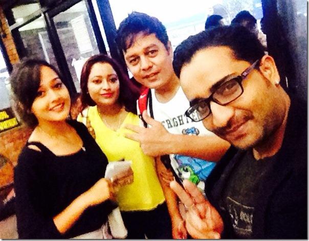dilip rayamajhi and family at airport