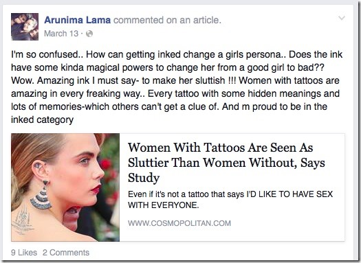 arunima lama comment slutty girls tattoo
