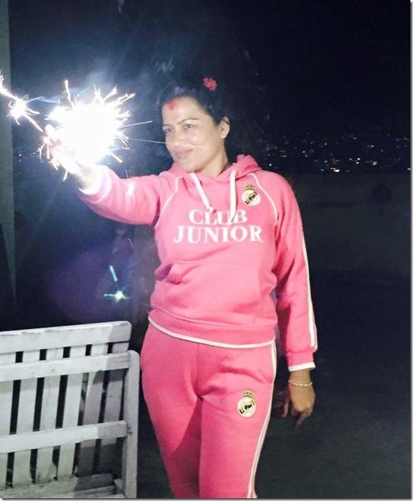 rekha thapa enjoys fireworks