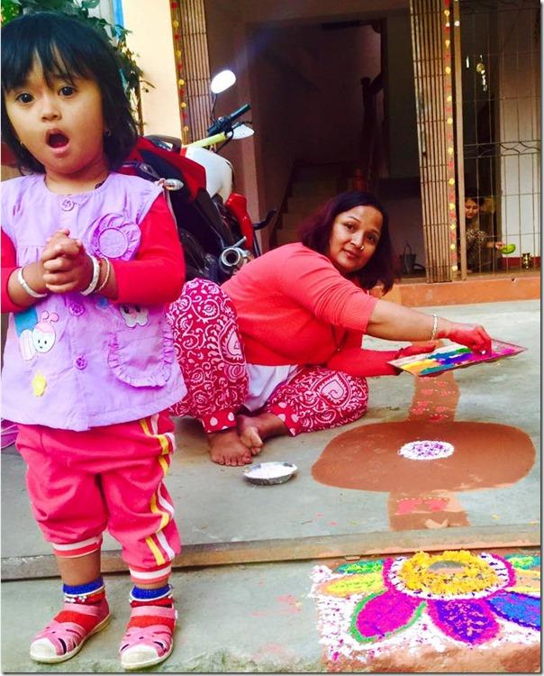 saranga shrestha deepawali with daughter