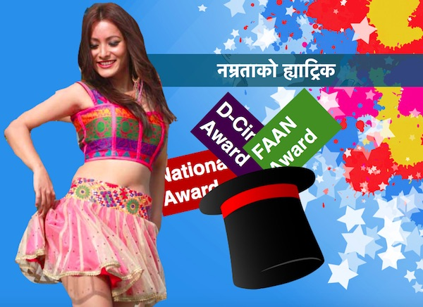 namrata shrestha hat trick in best actress award